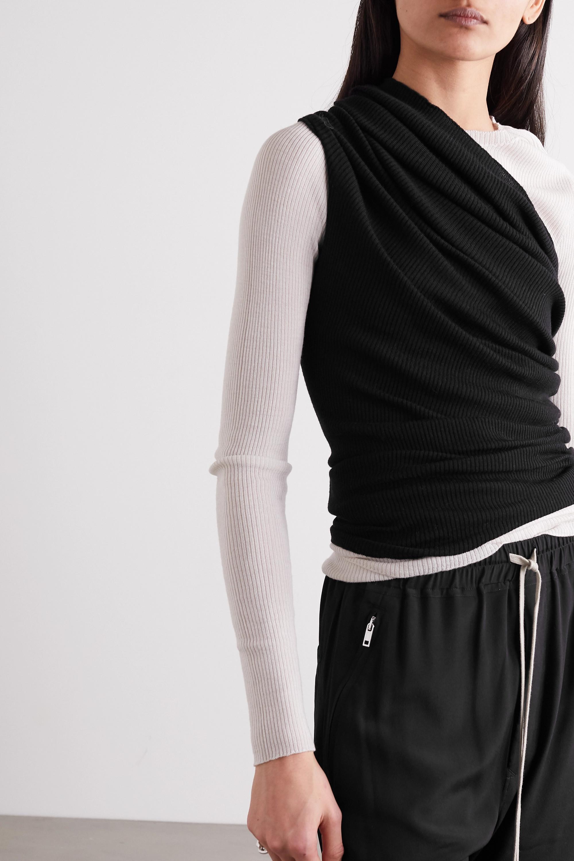 Rick Owens Oberteil aus gerippter Wolle mit asymmetrischer Schulterpartie