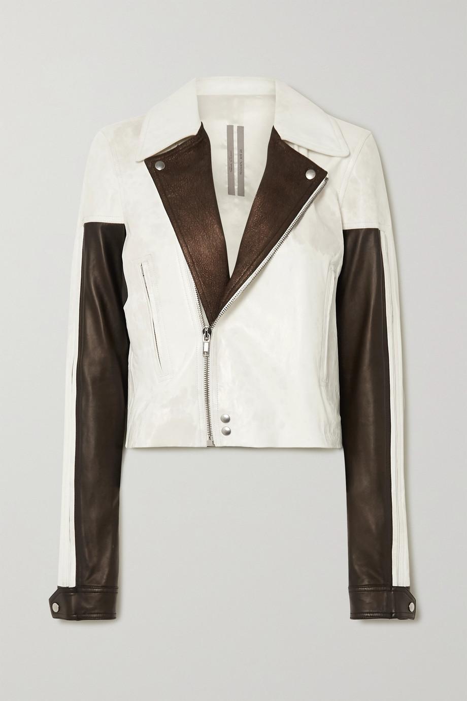 Rick Owens Color-block leather biker jacket
