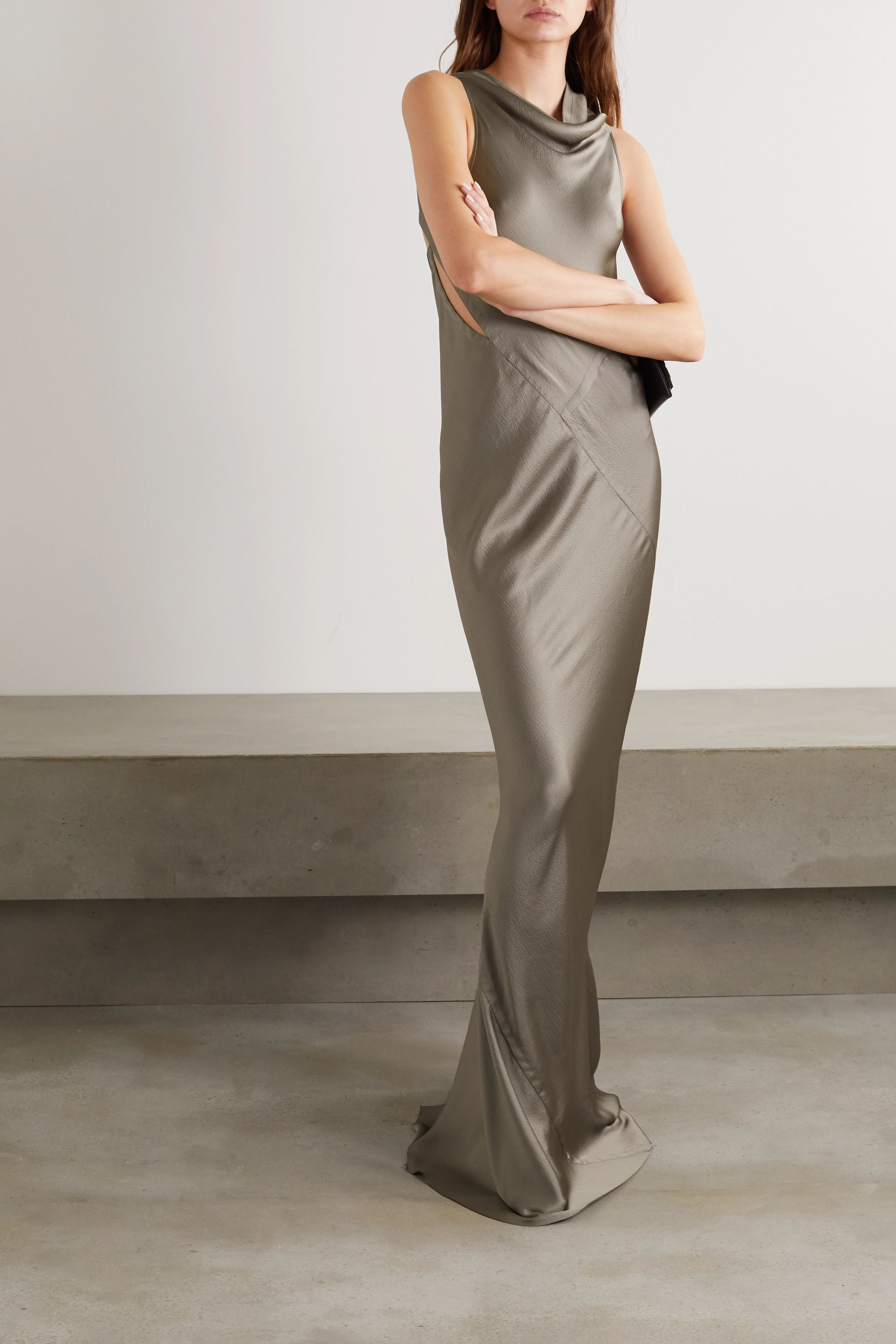 Rick Owens Skorpio draped cutout open-back hammered-satin gown