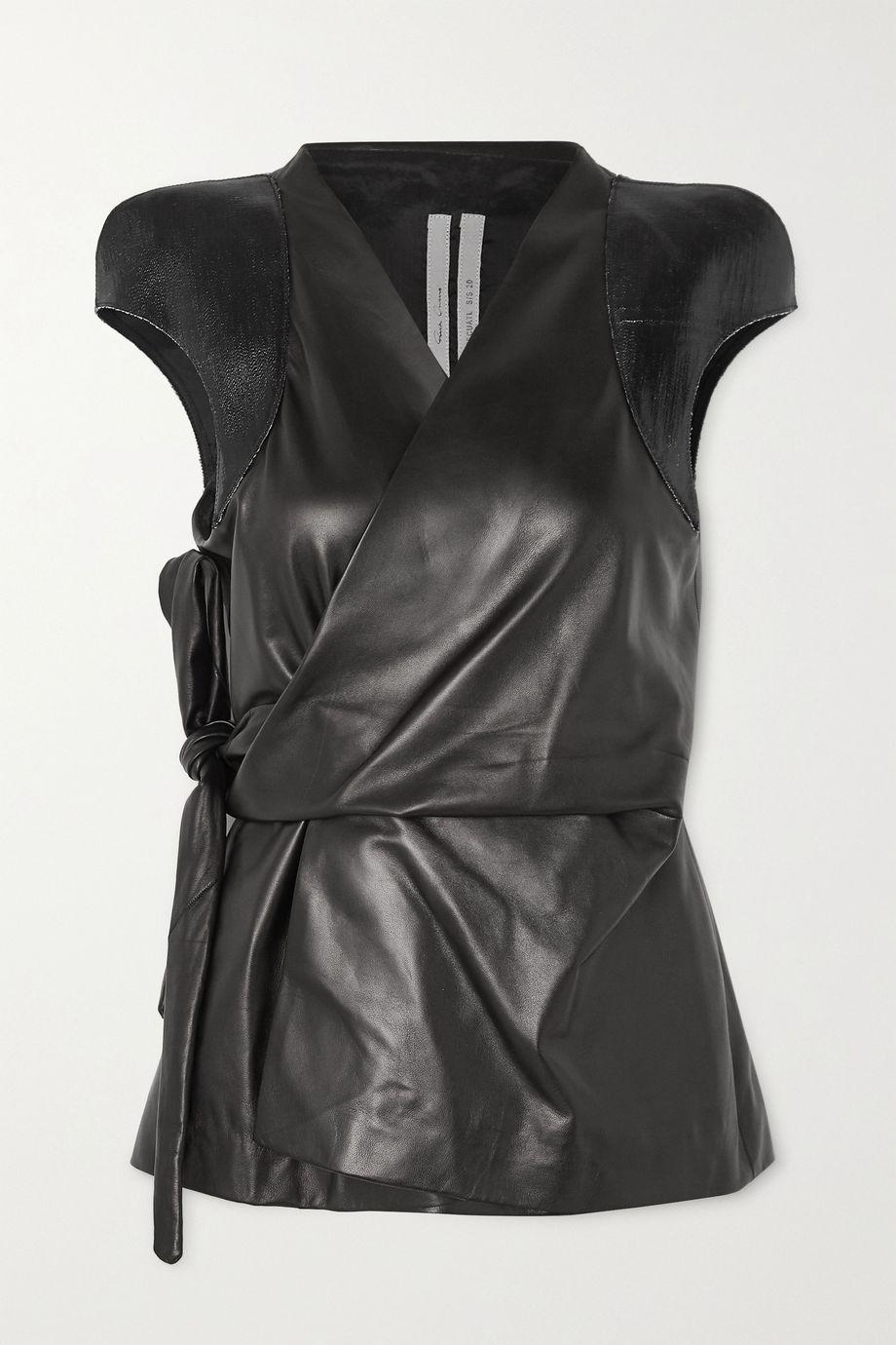 Rick Owens Paneled leather wrap top