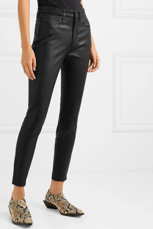 rag & bone Pantalon skinny raccourci en cuir Nina