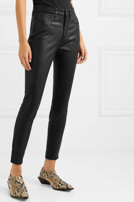 Nina cropped leather skinny pants