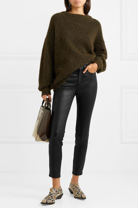 Black Nina cropped leather skinny pants | rag & bone mQo8Ub