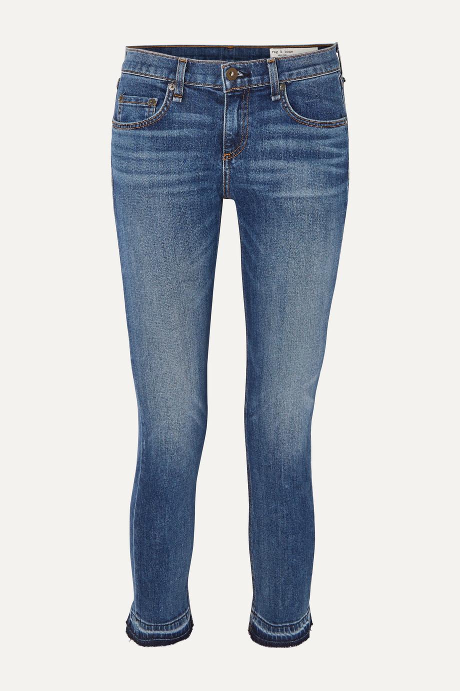rag & bone Dre Capri verkürzte, halbhohe Jeans mit schmalem Bein und Distressed-Details