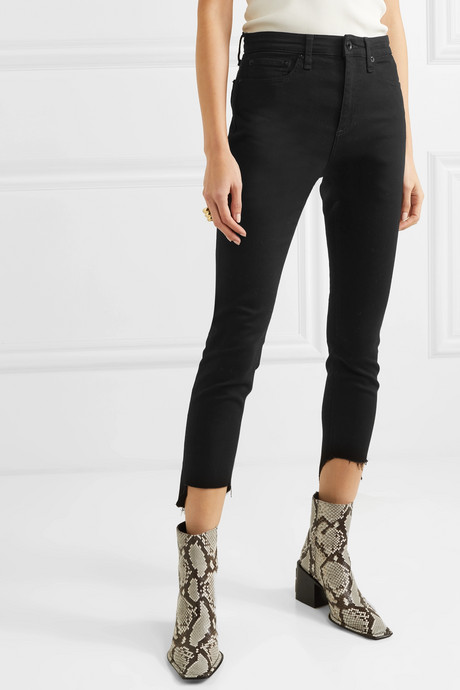 Nina cropped distressed high-rise skinny jeans