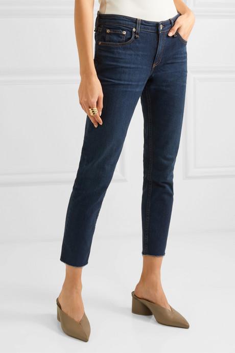 Dre cropped mid-rise slim-leg jeans