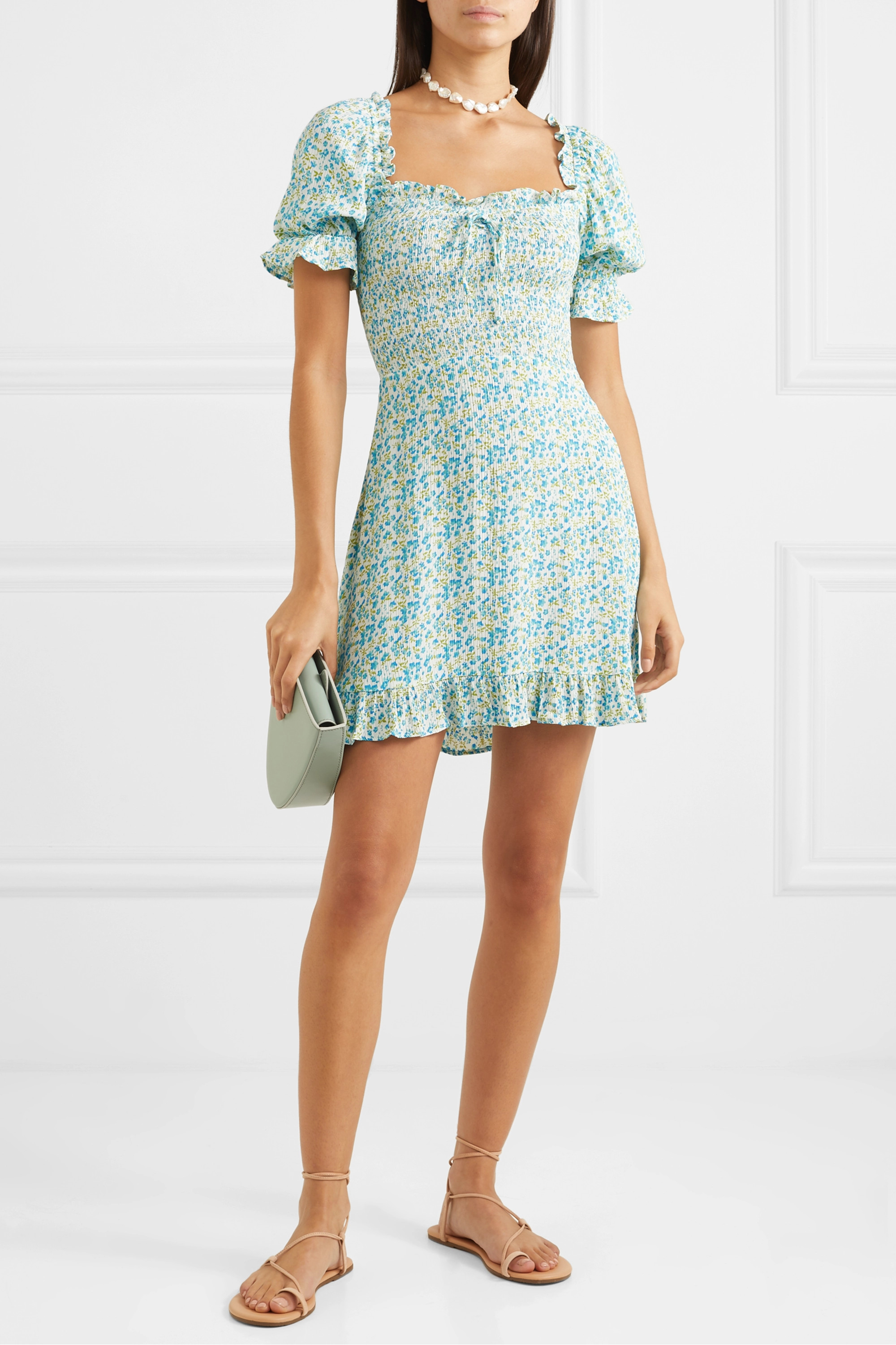 Faithfull The Brand Donna shirred floral-print crepe mini dress