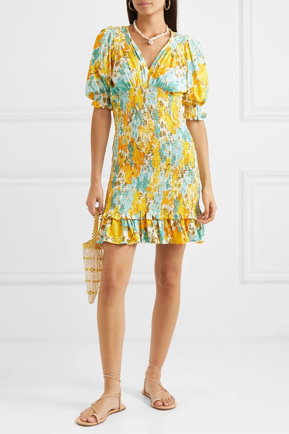 Faithfull The Brand Margherita shirred floral-print crepe mini dress