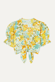 Faithfull The Brand Jamais cropped tie-front floral-print linen top