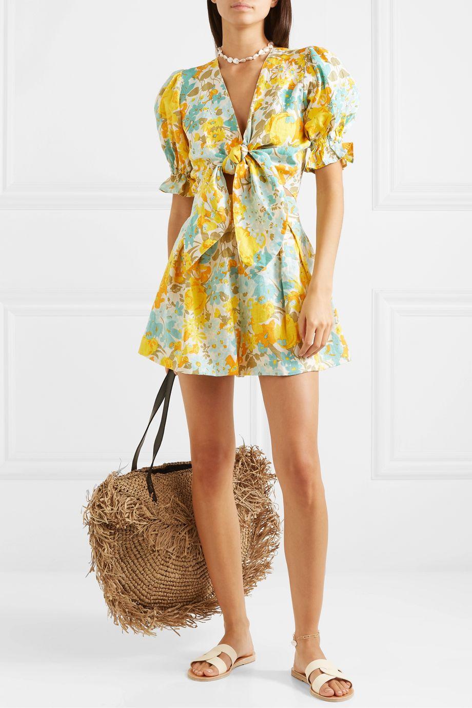 Faithfull The Brand Jamais cropped tie-front floral-print linen top