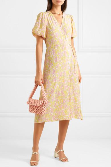 Fran Floral Print Crepe Midi Wrap Dress by Faithfull The Brand