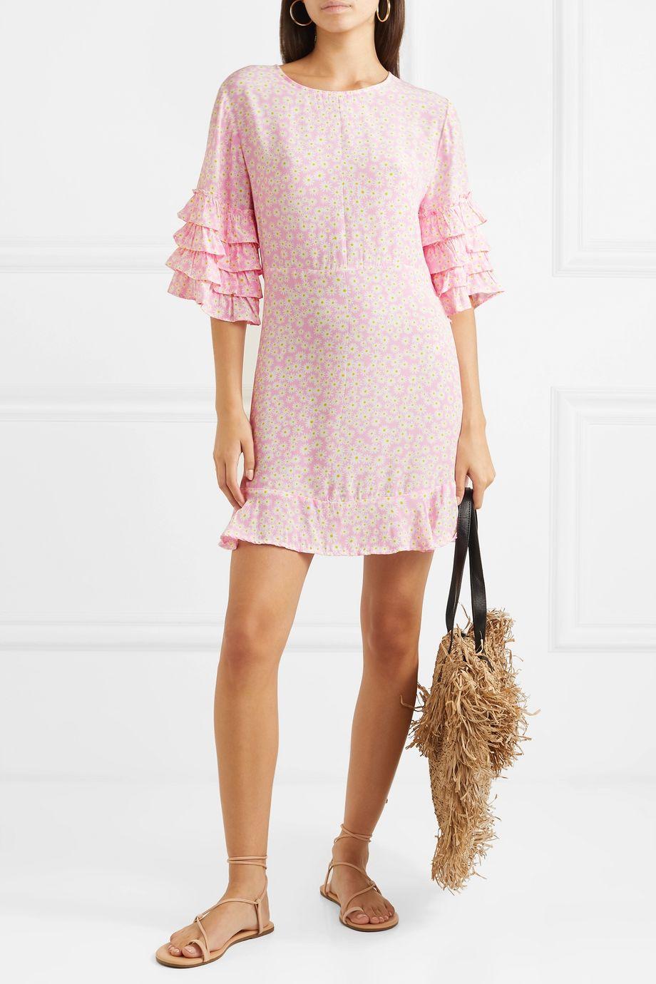 Faithfull The Brand Serafina ruffled floral-print crepe mini dress