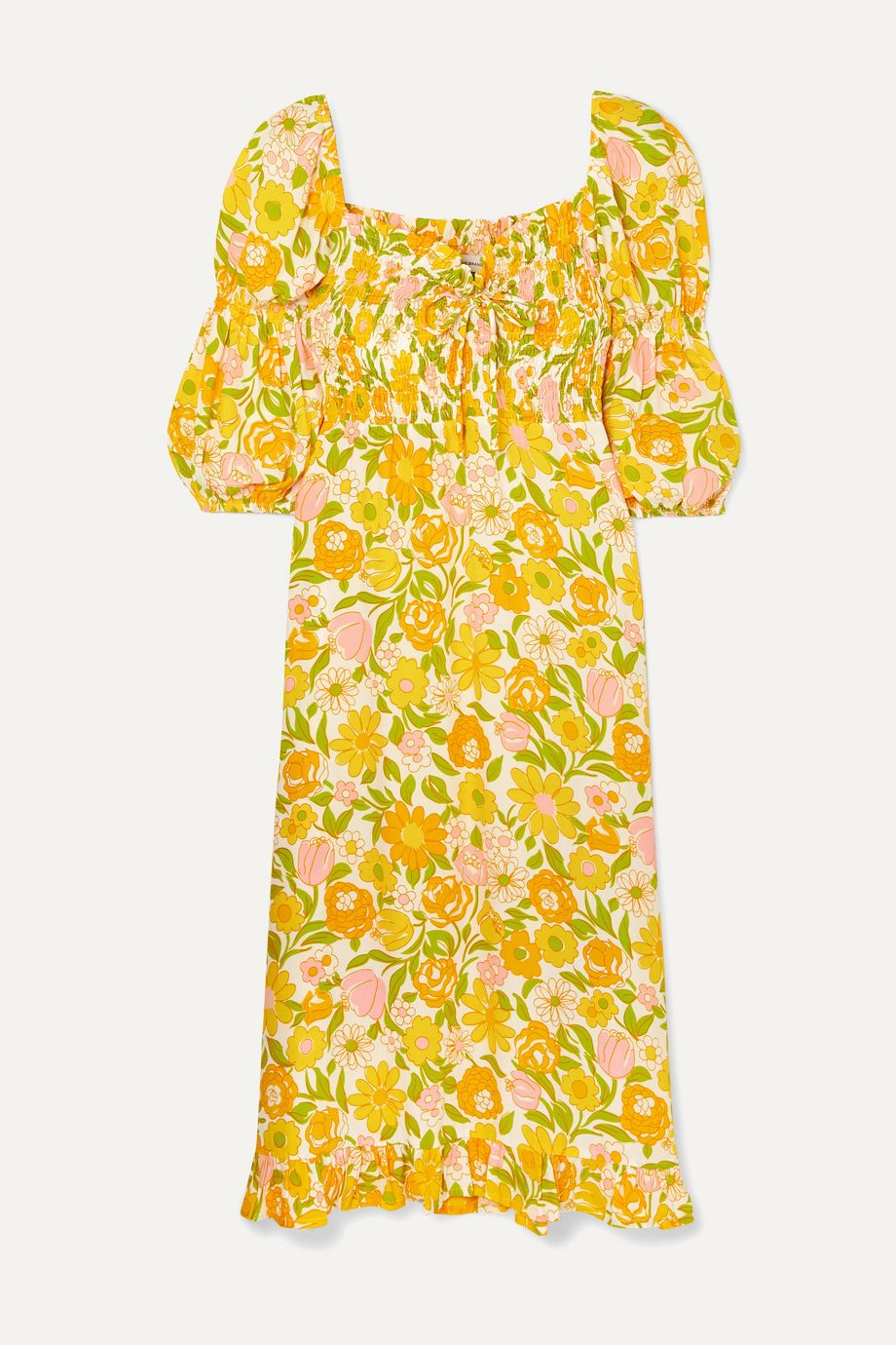 Faithfull The Brand Nora shirred floral-print crepe midi dress