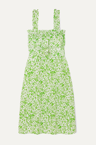 Faithfull The Brand - Mae Belted Ruffled Floral-print Crepe Dress - Mint