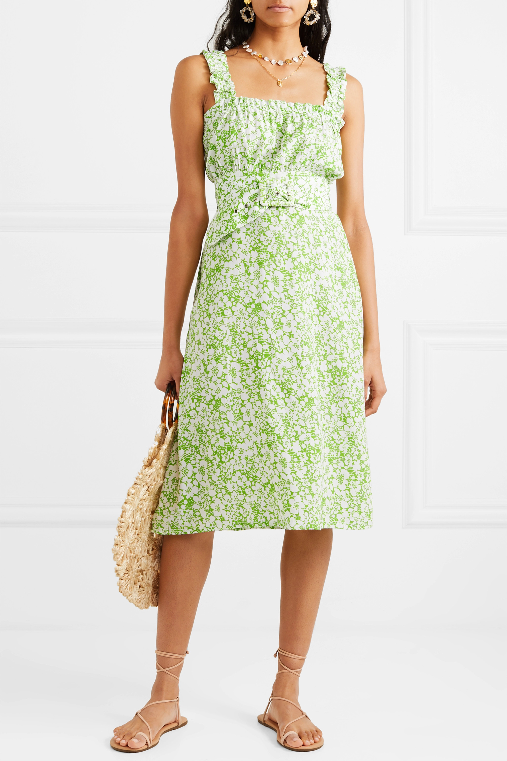 Faithfull The Brand Mae belted ruffled floral-print crepe dress