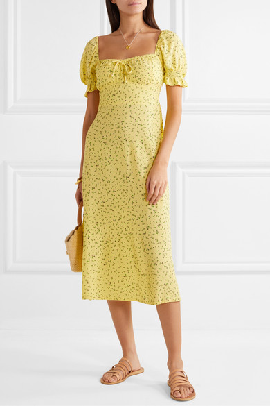 Evelyn Floral Print Crepe Midi Dress by Faithfull The Brand