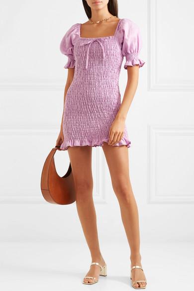 Annibelis Shirred Linen Mini Dress by Faithfull The Brand