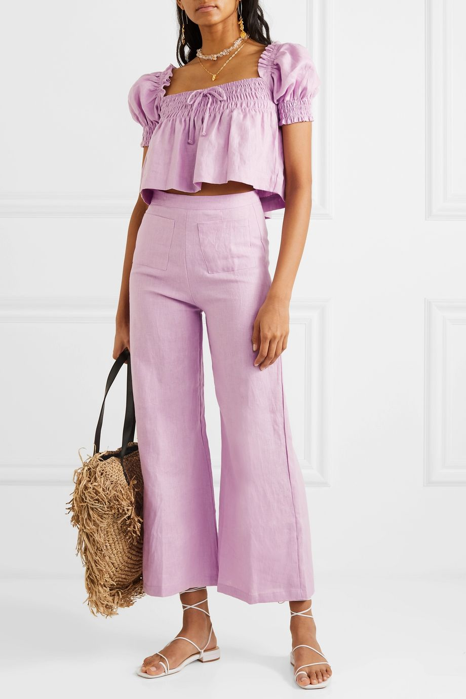 Faithfull The Brand Lilla cropped shirred linen top
