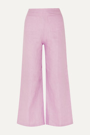 Enid cropped linen wide-leg pants