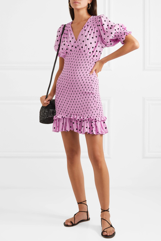 Faithfull The Brand Margherita shirred polka-dot crepe mini dress