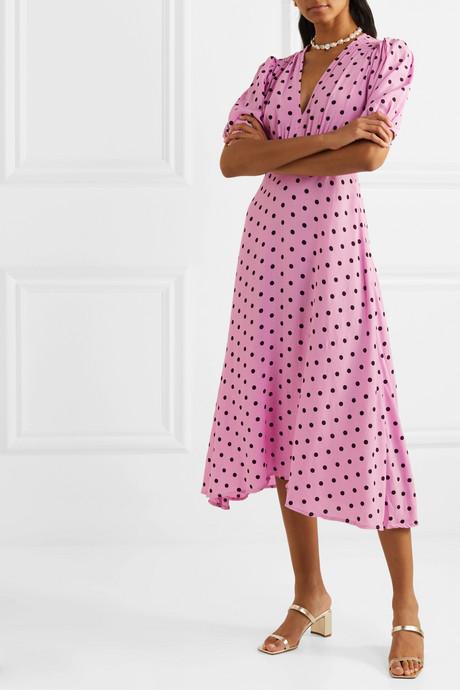 Vittoria polka-dot crepe midi dress