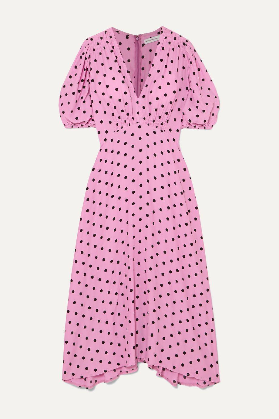 Faithfull The Brand Vittoria polka-dot crepe midi dress