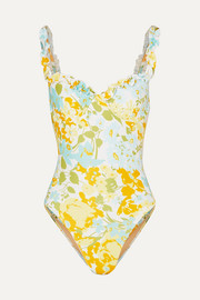 Faithfull The Brand Hilda ruffled floral-print underwired swimsuit
