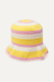 Striped crocheted cotton bucket hat