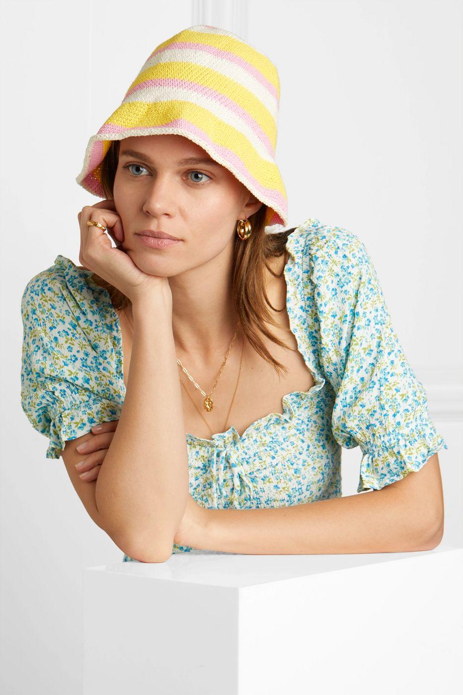 Faithfull The Brand Striped crocheted cotton bucket hat