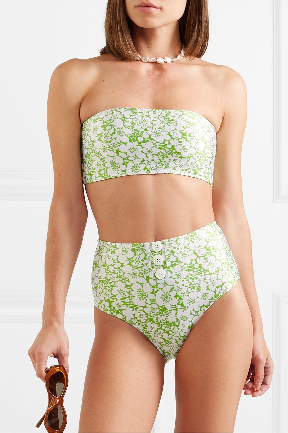 Faithfull The Brand Grete button-detailed floral-print bandeau bikini
