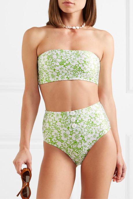 Grete button-detailed floral-print bandeau bikini