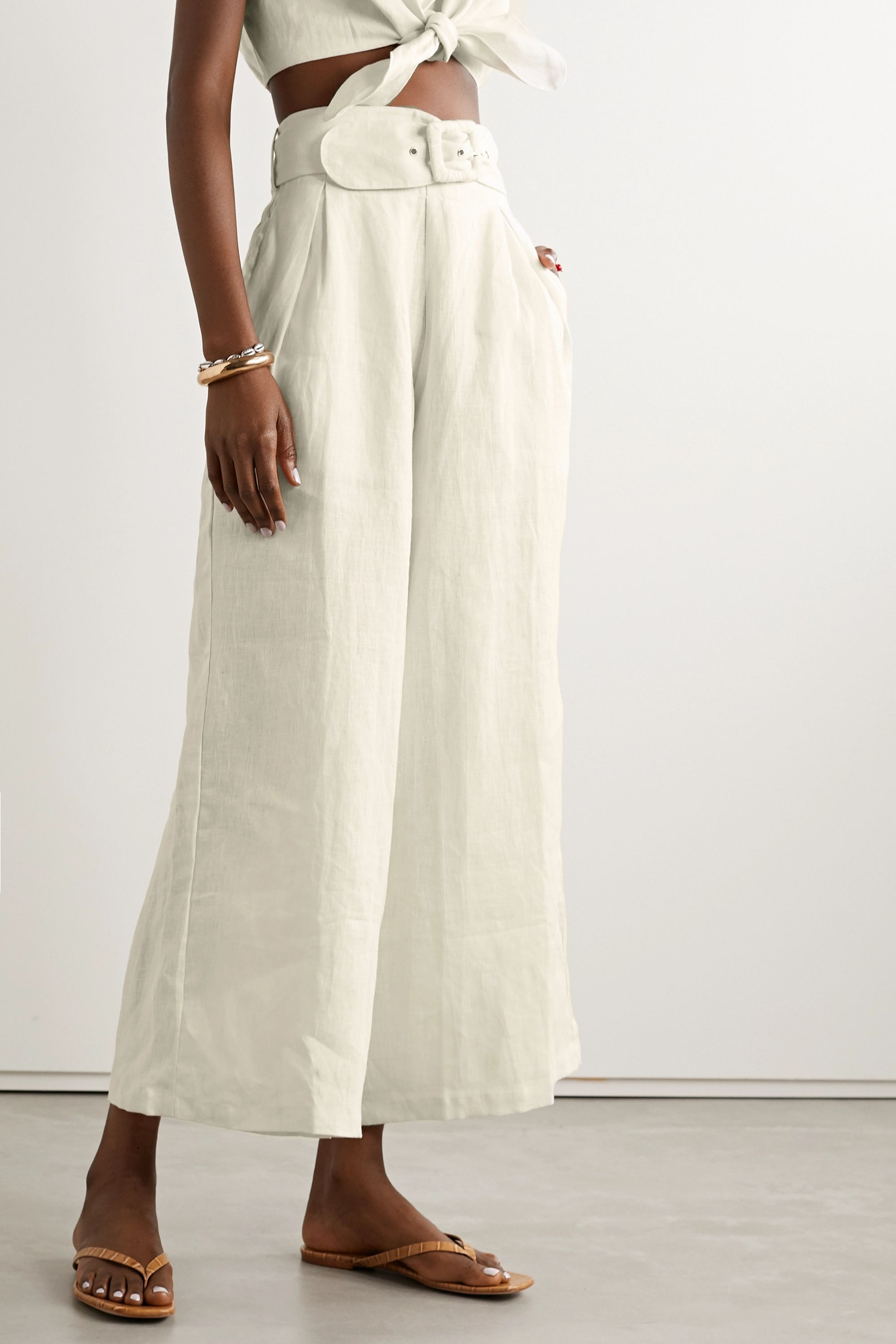 Faithfull The Brand Lena belted linen wide-leg pants