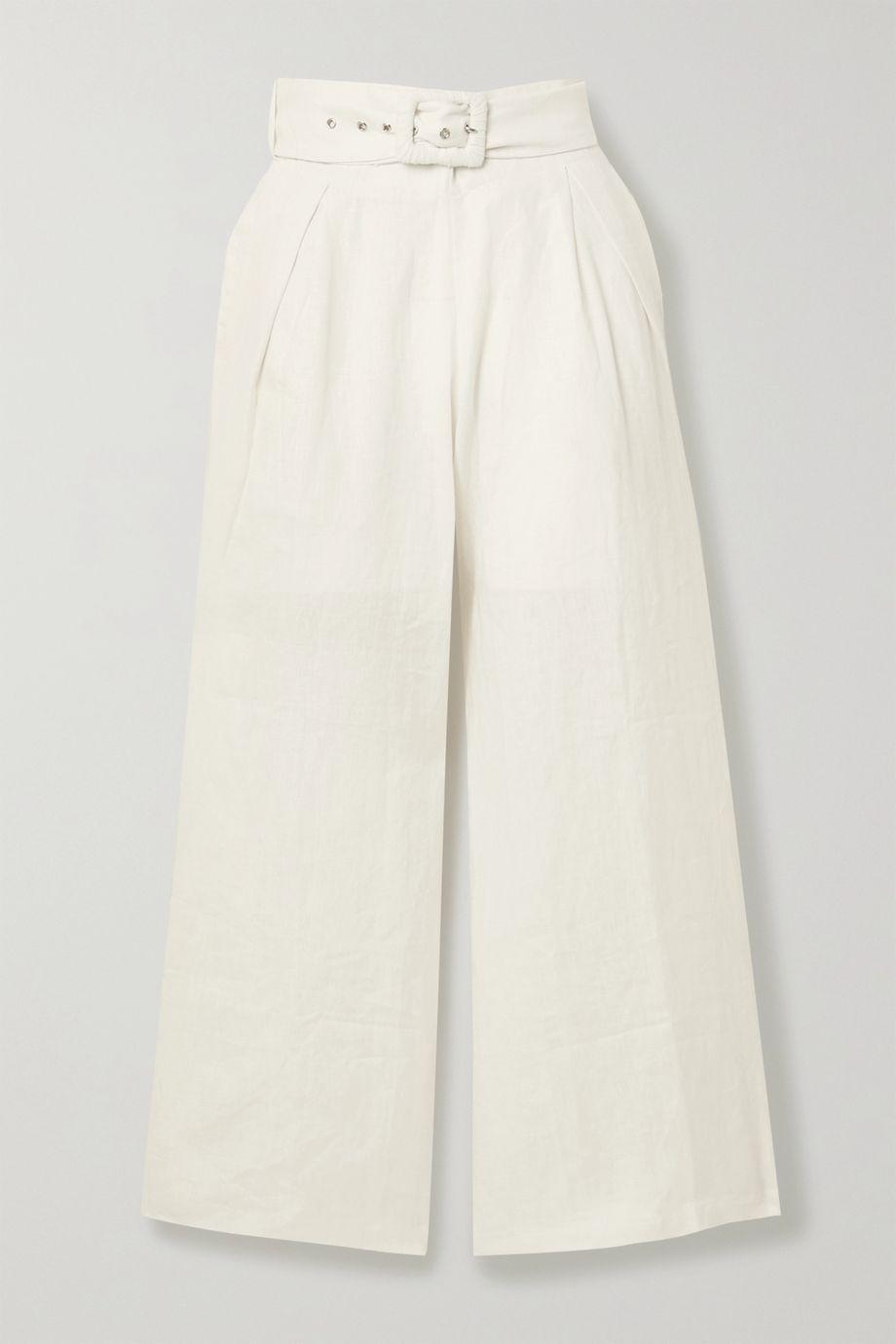 Faithfull The Brand Lena belted linen wide-leg pants