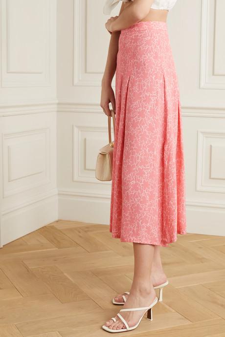 Cuesta pleated floral-print crepe midi skirt