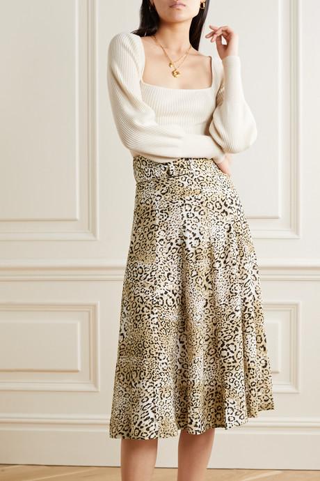Luda belted leopard-print crepe midi skirt