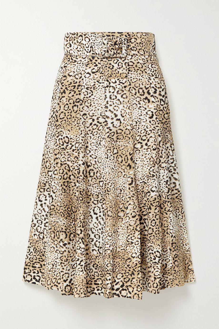 Faithfull The Brand Luda belted leopard-print crepe midi skirt