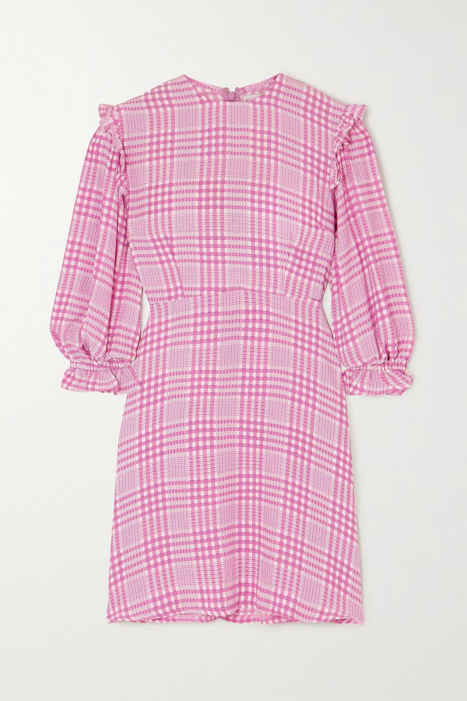 Faithfull The Brand Edwina ruffled checked crepe mini dress