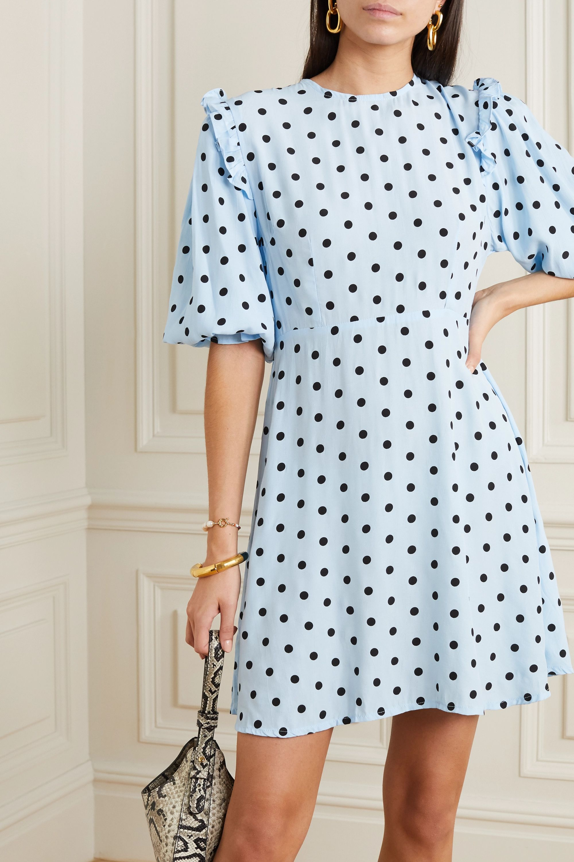 Faithfull The Brand Edwina ruffled polka-dot crepe mini dress