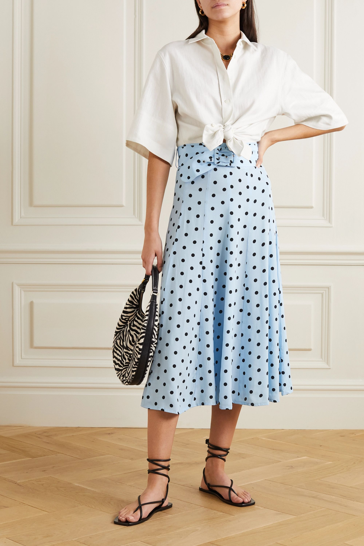 Faithfull The Brand Luda belted polka-dot crepe midi skirt