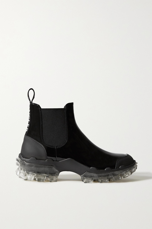Black Hanya Patent Leather Chelsea Rain Boots Moncler Net A Porter