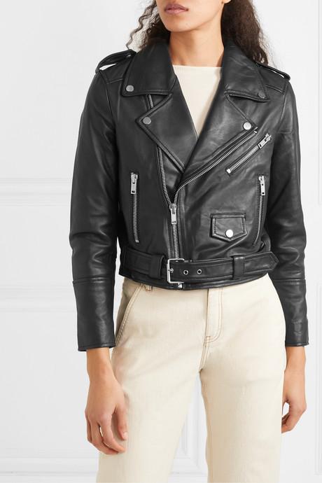 + NET SUSTAIN Joan leather biker jacket
