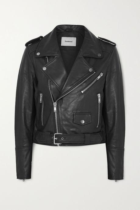 Black + NET SUSTAIN Joan leather biker jacket   Deadwood aJnAsY