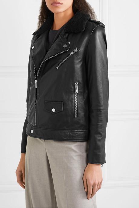+ NET SUSTAIN River Teddy faux shearling-trimmed leather biker jacket