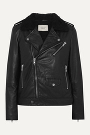 Deadwood + NET SUSTAIN River Teddy faux shearling-trimmed leather biker jacket