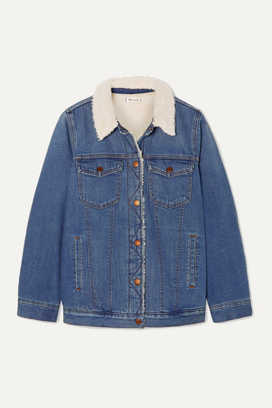 Madewell Jackets Faux shearling-trimmed denim jacket