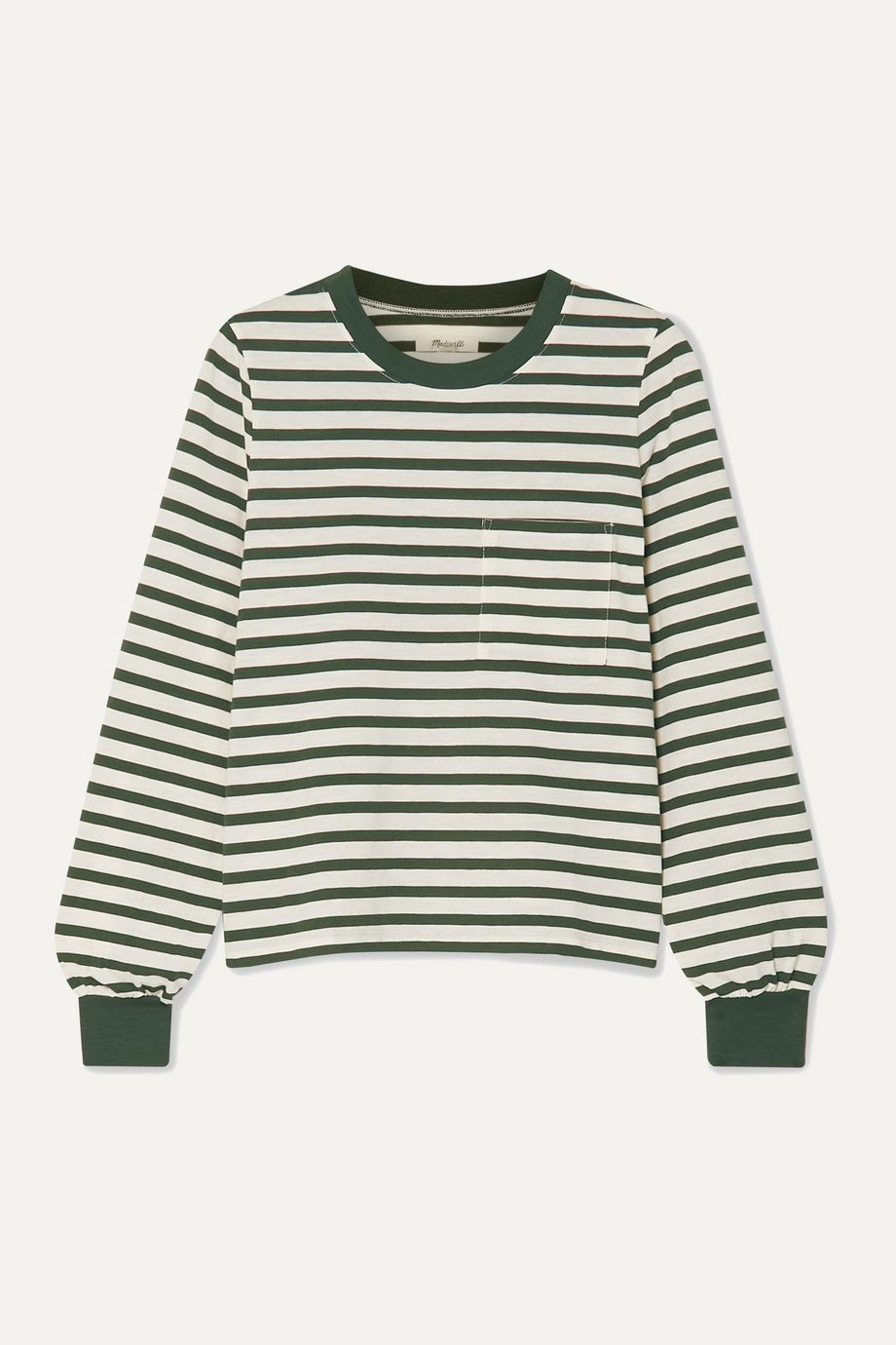 Madewell Caressa striped cotton-blend jersey top