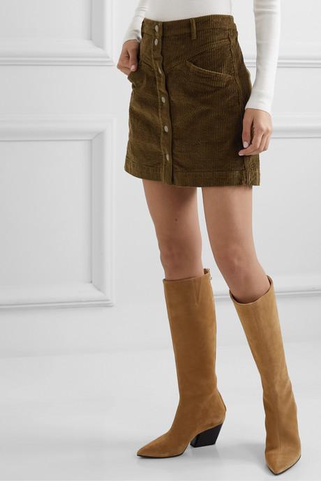 Cotton-blend corduroy mini skirt