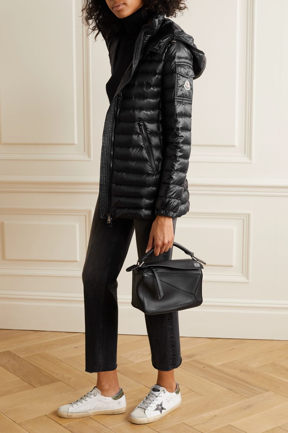 Moncler Menthe hooded quilted shell down jacket