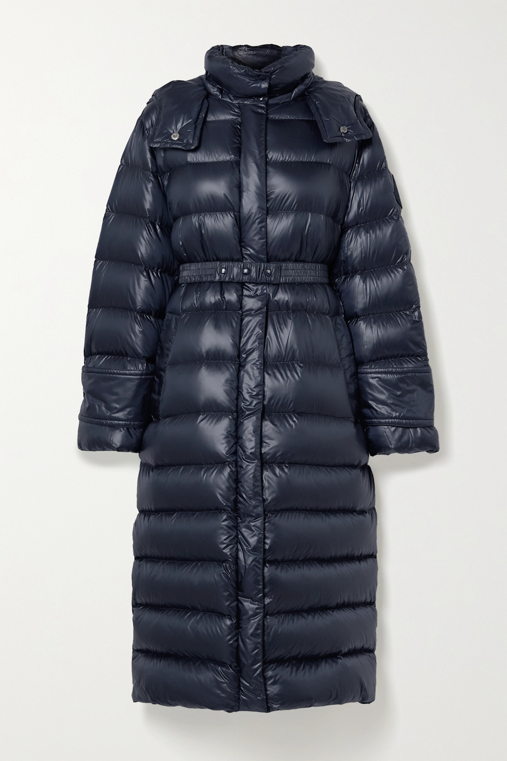 Cobalt hooded quilted ripstop down coat