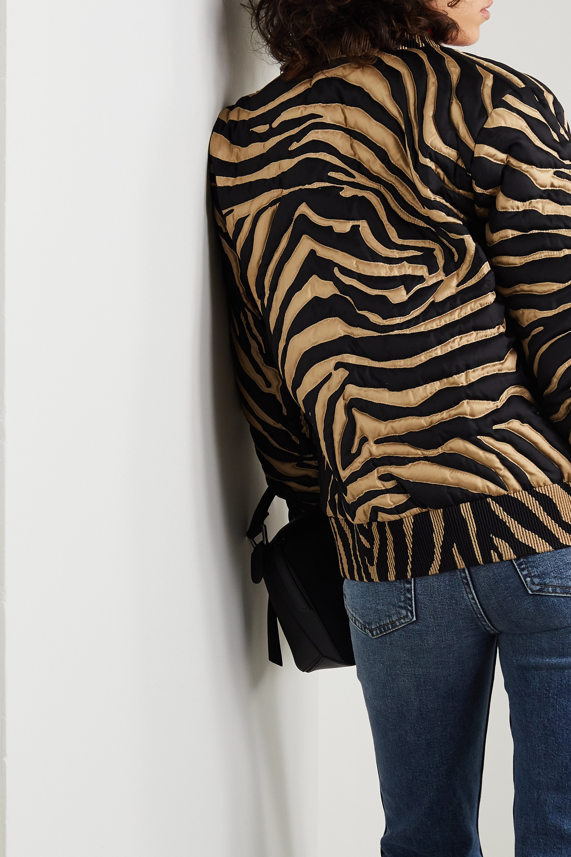 Moncler Quilted zebra-print silk down bomber jacket